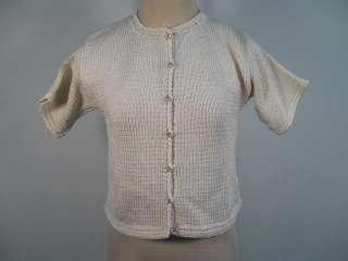 DESIGNER Off White Knit Short Sleeve Cardigan Sweater M