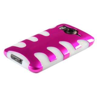 Hybrid Hard /Gel 2 Tone Case for HTC INSPIRE 4G Pink/White w/ Screen