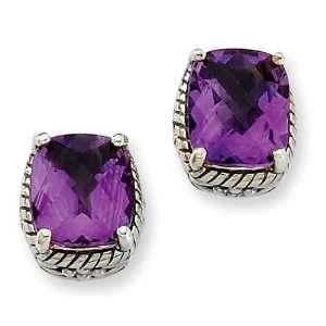 Sterling Silver 6.50ct Amethyst Earrings Jewelry