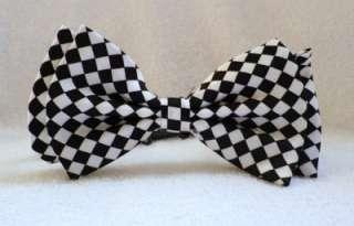 WHITE BLACK CHECKER RETRO EMO PUNK 80s BOW TIE BOWTIE