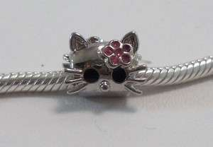 Silver European Crystal HELLO KITTY Charm f Bracelets