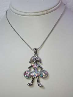 CLEAR AB RHINESTONE CRYSTAL CHEERLEADER PENDANT NECKLACE C244