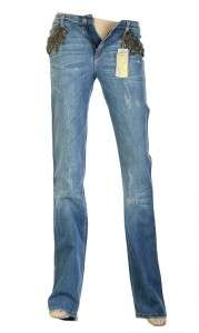 NEW ROBERTO CAVALLI FABULOUS CRYSTAL BEADS EMBROID BLUE COTTON JEANS