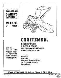 Craftsman Chipper Shredder Manual Model # 247.795890