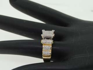 LADIES YELLOW GOLD PAVE .5C DIAMOND SQUARE FASHION RING