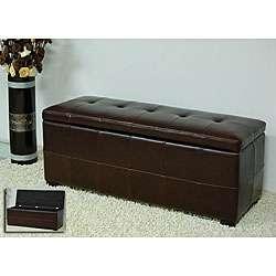 Espresso Bi cast Leather Storage Bench