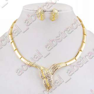 snake clear gold plated necklace earringv1set