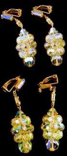 Segal Signed Yellow Aurora Borealis & Rhinestone Clip Earrings