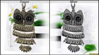 New Retro Vintage Bronze Silver Big Eye Owl Pendant Necklace