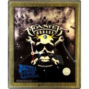 Monster Garage Black Skull Collectible Wood Wall Clock   9