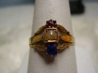 but Tested 14K Yellow Gold Victorian Pearl, Red and Blue Ring