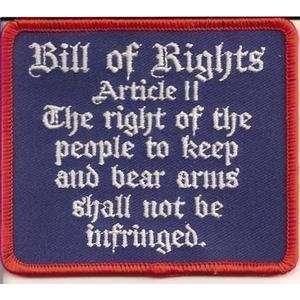 Bill Of Rights Article II Embroidered Biker Vest Patch