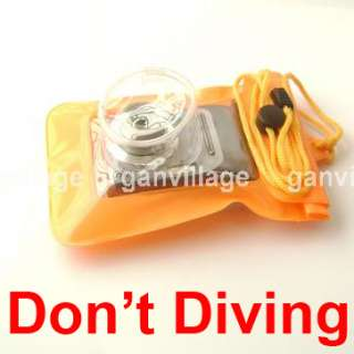 Orange Waterproof Digital Camera Pouch Dry Bag Ski Case