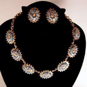 MARINO Enamel Flower Necklace Earrings Bracelet & Cufflinks
