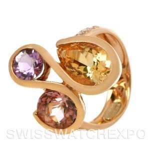 Colorful 18k Rose Gold Multi gemstones Diamonds Ring