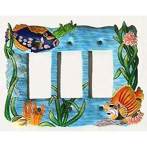Tropical Fish Decorative Switchplate Cover   Triple  Painted Metal