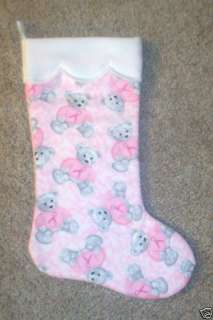 NEW Handmade Christmas Stocking TEDDY BEAR PINK RIBBON