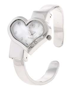 Geneva Platinum Womens Heart Bangle Watch
