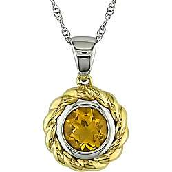 10k Two tone Gold Round Citrine Necklace