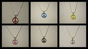 Peace Sign Necklace PINK BLUE RED SILVER BLACK +