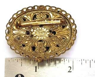 Vintage Brooch Pin West Germany Filigree Topaz Rhinestone Faux Pearl