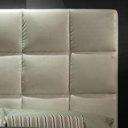 Sarajevo White Vinyl Column King size Platform Bed