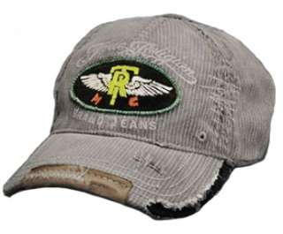 True Religion Brand Pinstriped Winged Ball Cap Hat Gray
