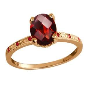 1.45 Ct Checkerboard Red Garnet Rose Gold Plated Argentium