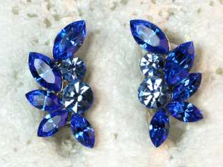 SAPPHIRE COLOR BLUE RHINESTONE CRYSTAL FLORAL CLIP ON STYLE EARRINGS