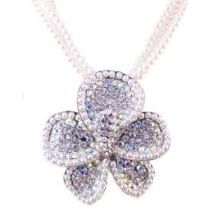 Cluster Faux Pearl with Cz Flower Necklace with Earring 2 set Jewelry