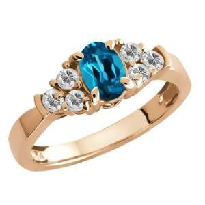 0.91 Ct Genuine Oval London Blue Topaz Gemstone Gold