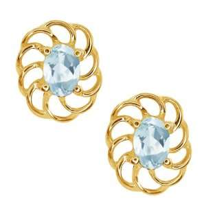 0.86 Ct Oval Sky Blue Aquamarine Gold Plated Sterling