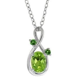 0.86 Ct Oval Green Peridot and Green Diamond 10k White