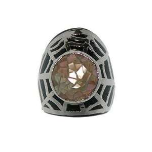 Caught in a Web Salmon Pink Abalone Ring Jewelry