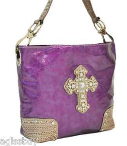 Purple Western Lace Rhinestone Cross HANDBAG Purse