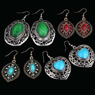 pair retro tibet silver alloy gold tone agate bead dangle earring
