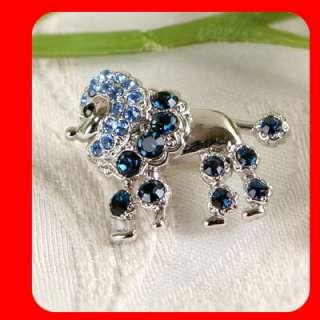 New Poodle Dog Pet Brooch Pin w blue Swarovski Crystal