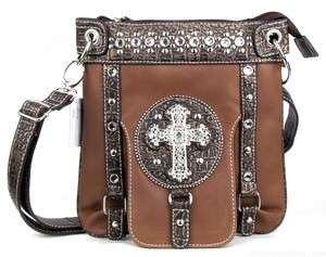 COWGIRL BROWN RHINESTONE CROSS MESSENGER BAG CROSS BODY PURSE TOTE