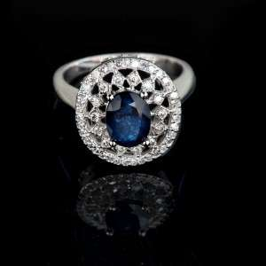95 CTW BLUE OVAL SAPPHIRE & WHITE DIAMOND ENGAGEMENT RING 14K SOLID