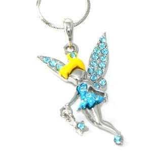 Beautiful Blue Crystal & Enamel Dress Tinkerbell Fairy with Star Charm