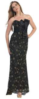 Gorgeous hot strapless long beaded evening gown prom bridesmaids dress