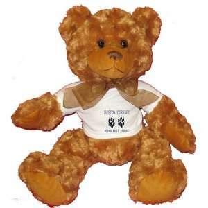 BOSTON TERRIER MANS BEST FRIEND Plush Teddy Bear with