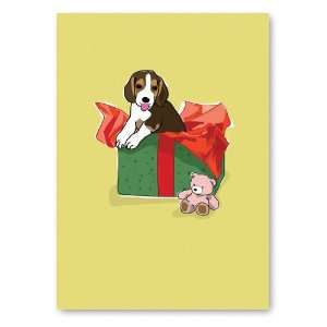 Pup in gift box   Birthday Greeting Cards   6 cards