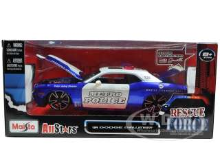 Brand new 124 scale diecast model of 2008 Dodge Challenger SRT8 Blue