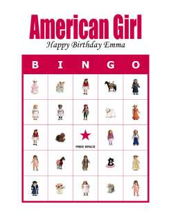 American Girl Personalized Birthday Party Game Bingo Cards