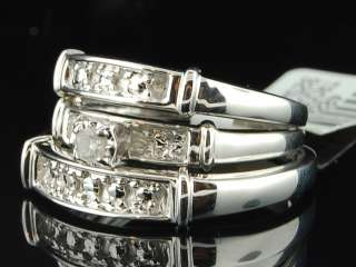 White Gold Finish Diamond Engagement Ring Wedding Band Trio Set