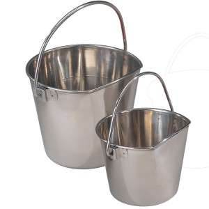 ProSelect Stainless Steel Handle Flat Side Dog Pail 9Qt