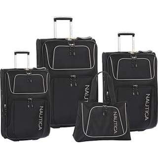 Nautica Steward 4 Piece Luggage Set   Black/Light Grey
