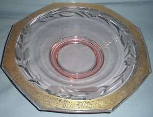 PINK DEPRESSION ELEGANT GLASS CONSOLE BOWL ETCHED GOLD