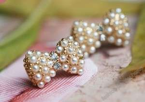 Fashion gold plated crystal Imitation pearl bowknot earrings